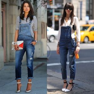 NEW Zara Denim Distressed Overalls